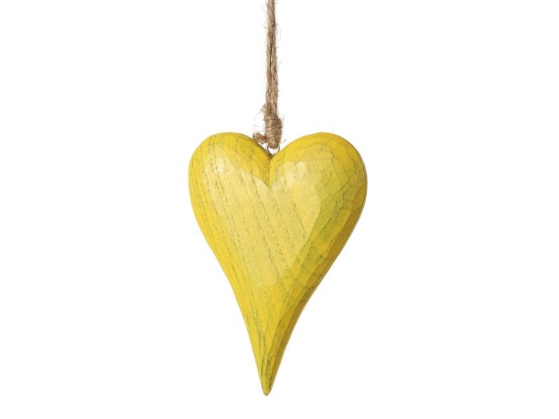 Herz aus Holz dick zum hängen GELB 10,5x3x28cm