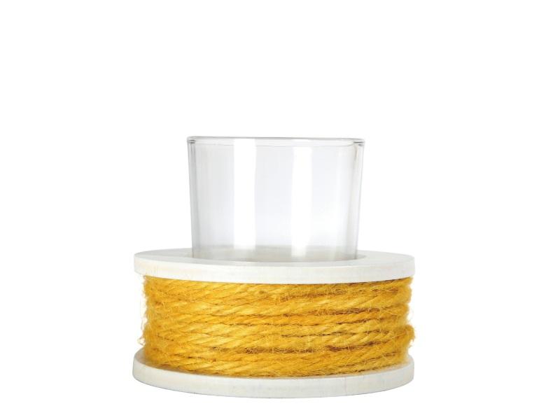 Teelichthalter Spule mit Glas für Teelicht GELB 8,5x8cm