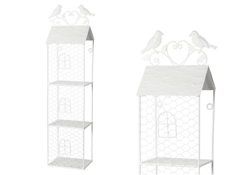 Haus Metall mit Vogel 3Etagen WEISS 15x12x60cm