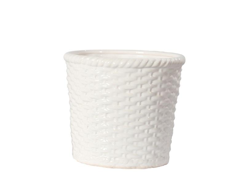 Topf Übertopf Kübel Keramik Korb WEISS 15x13cm