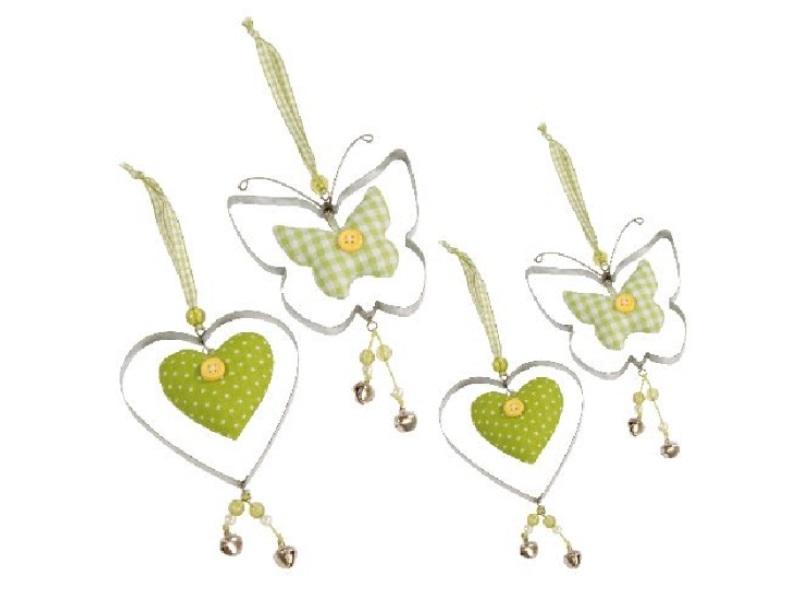 4er Set Herz und Schmetterling zum hängen GRÜN 8x8cm