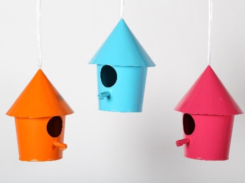 3er Set Vogelhaus zum hängen pink,orange,blau 9x14cm