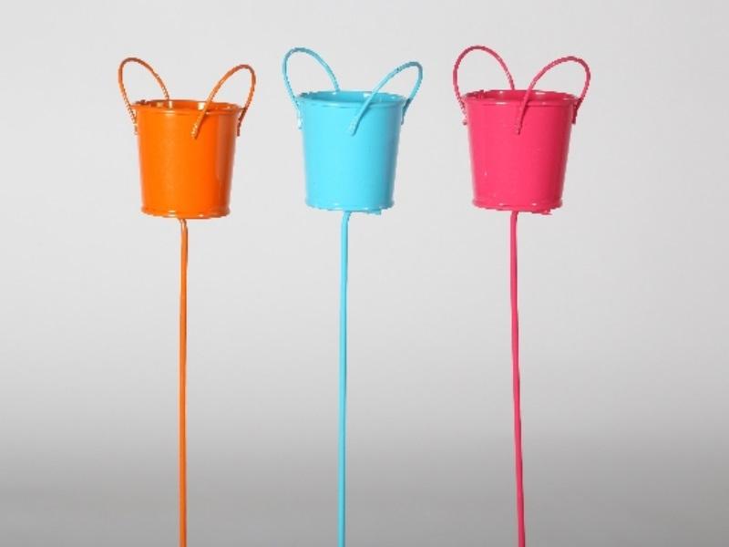 3er Set Eimer am Stab pink orange blau sortiert 6,5x4,5/30cm