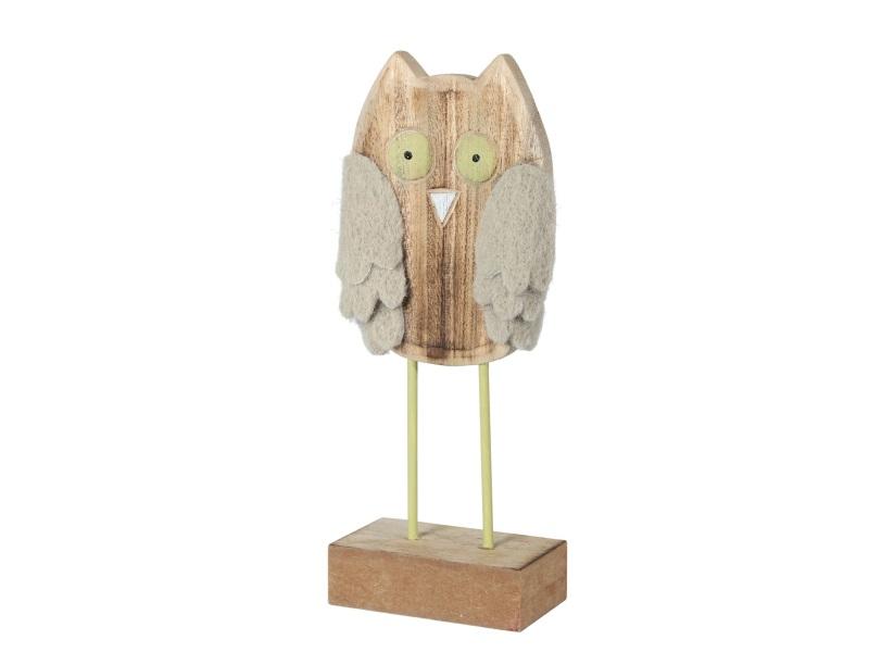 Eule mit Holz Filzflügel BRAUN-GRÜN 10x4x24
