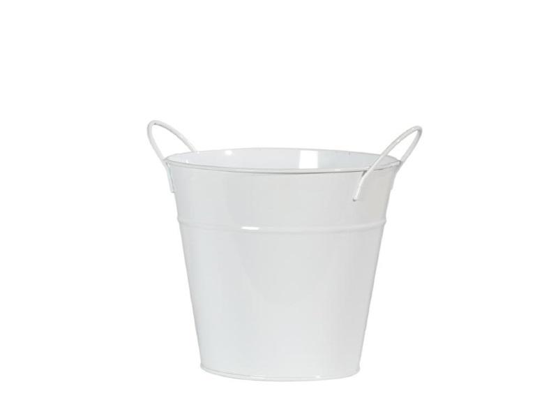 Kübel Übertopf Topf Zink mit Henkel WEISS 15x12,5cm