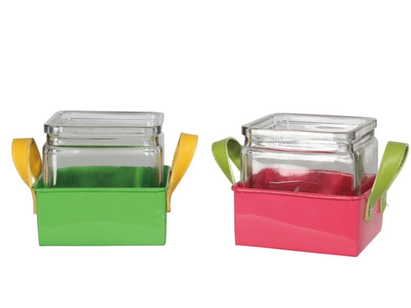 2er Set Teelicht Glas mit Zinktablett mit Leder sortiert 8,5x8,5cm