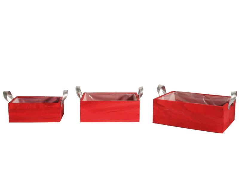 3er Set Jardiniere Holz mit Zink rot 20x14x8; 24x18x9; 28x22x10cm