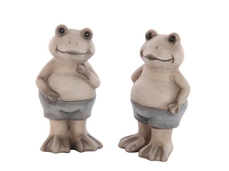 2 Frösche aus Keramik grau 6,4x5,1x11,1cm