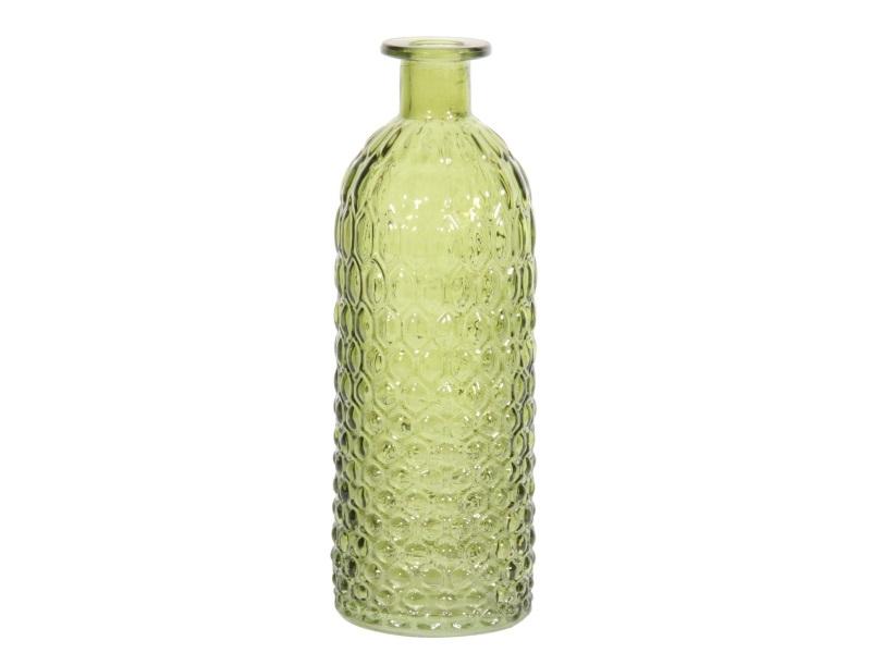 Deko-Flasche Vase mit Rauten Glas grün hell 7x20cm