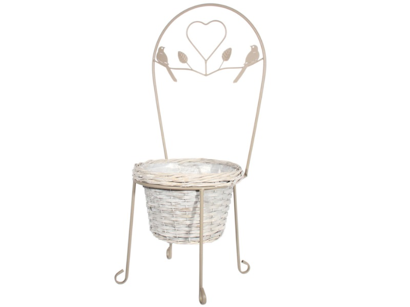 Stuhl Metall mit Korb grau 34x75cm