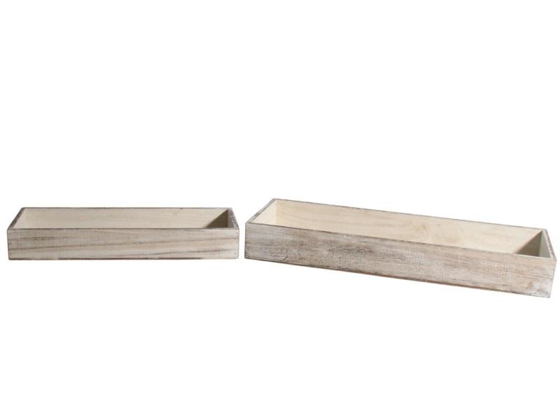 2er Set Tablett aus Holz weiss 40x14x5,5; 52x18x6,5cm