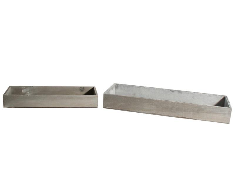 2er Set Tablett aus Holz grau 40x14x5,5; 52x18x6,5cm