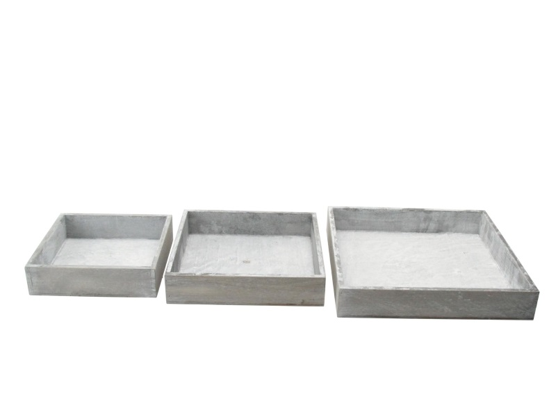 3er Set Tablett aus Holz grau 20x20x5; 24x24x5; 30x30x5cm
