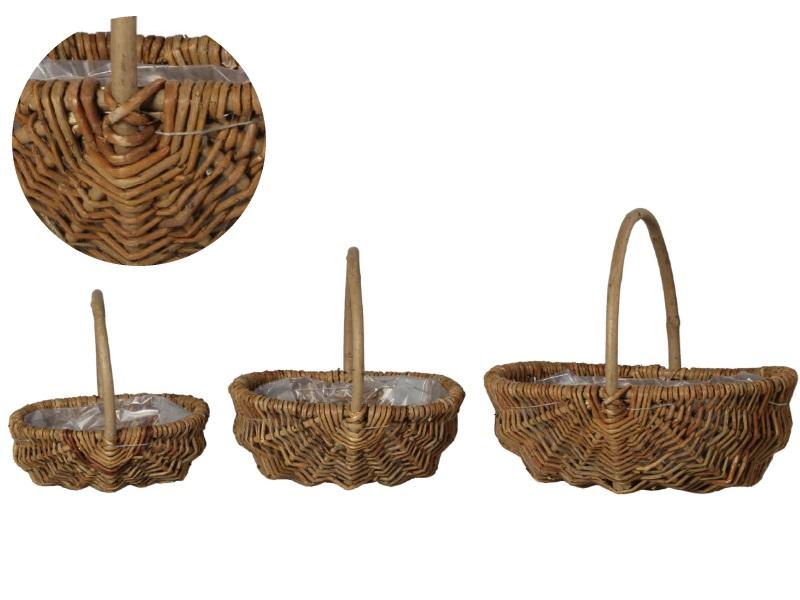 Kartoffelkorb Set aus 3 Körbe natur 20x15x9cm/ 26x20x11cm/ 34x25x13cm