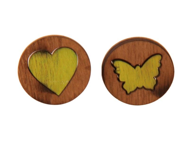 36er Set Herz und Schmetterling Motiv Streudeko grün d3cm