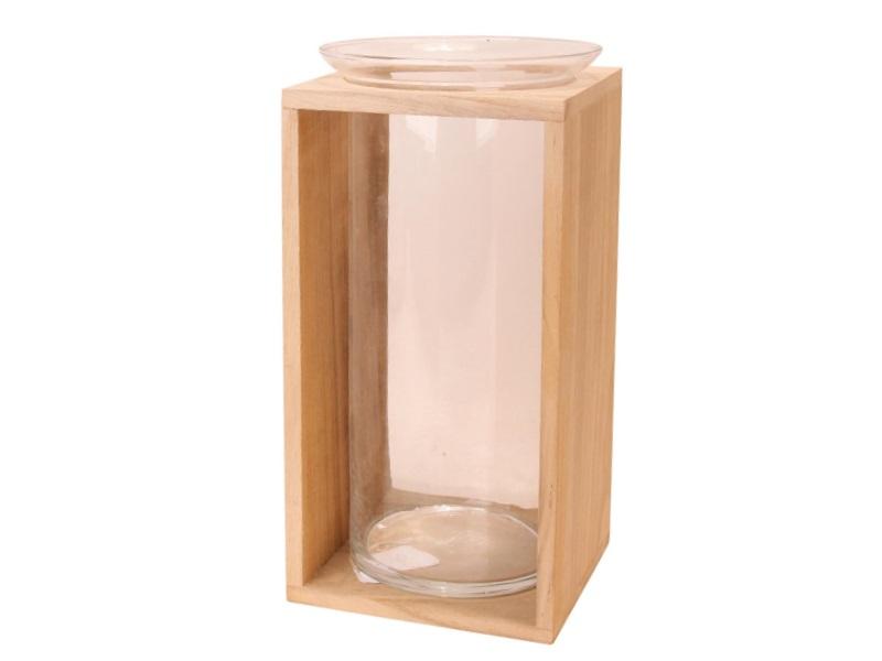 Blumenvase aus Glas Vase mit Rand in Holz klar 17x17x34cm