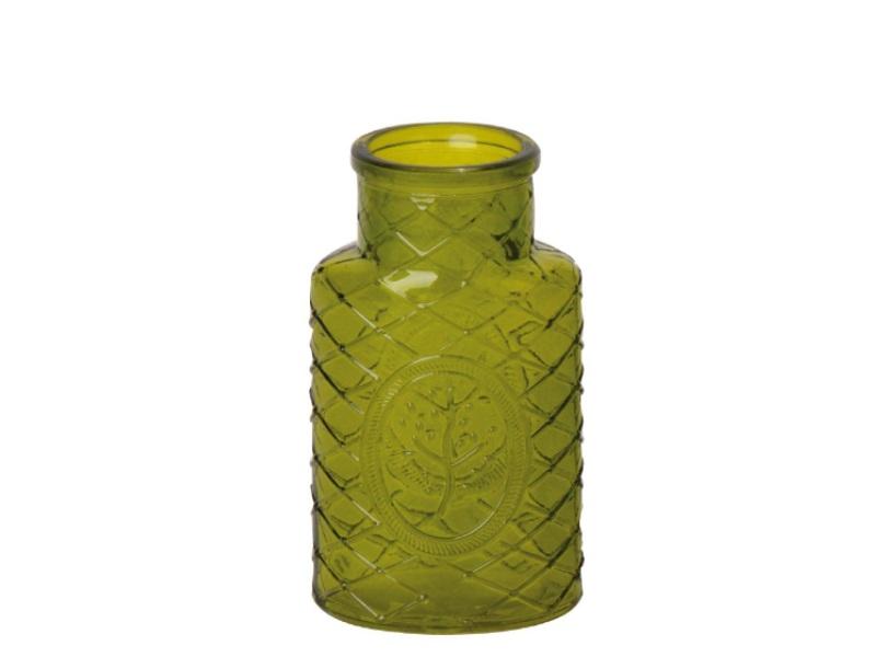 Blumenvase Glas Vase mit Baum grün hell 11x6,5x14cm
