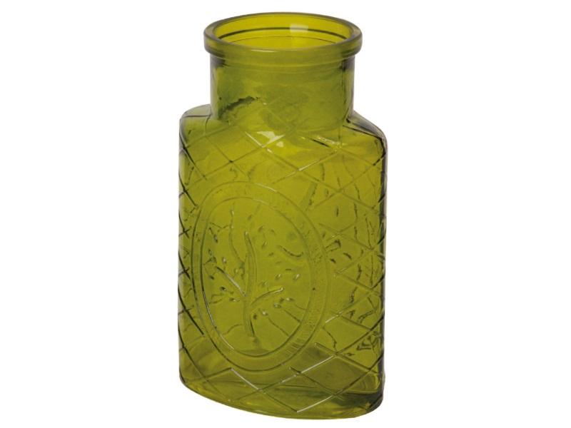 Blumenvase Glas Vase mit Baum grün hell 14,7x8,5x18,6cm