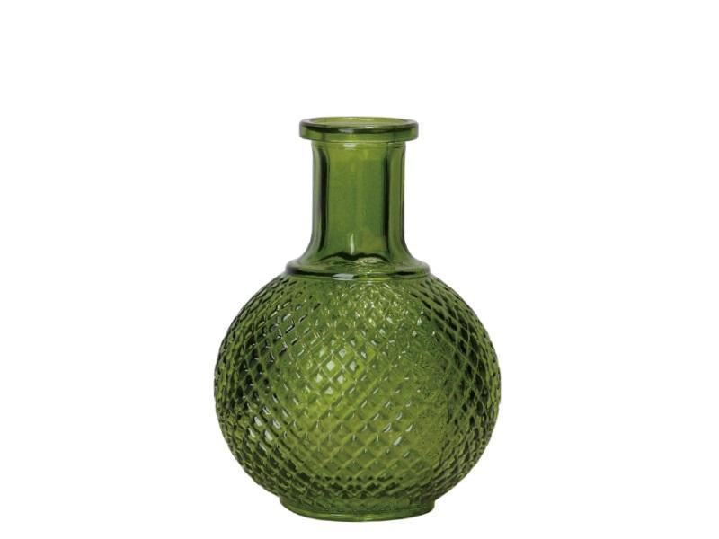 Blumenvase aus Glas Flasche bauchig grün oliv 8,5x11,5cm