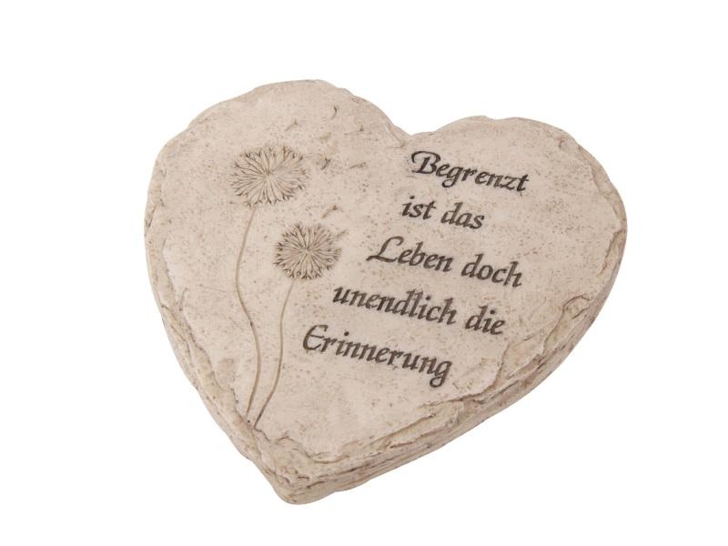 """Grabschmuck Herz auf Ständer aus Poly """"Begrenzt ist das Leben"""" creme 18x18x7cm"""