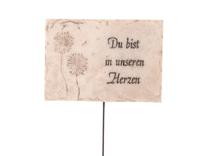 Als letzter Gruß Schild mit Pusteblume am Stab aus Poly creme 8x0.8x6cm