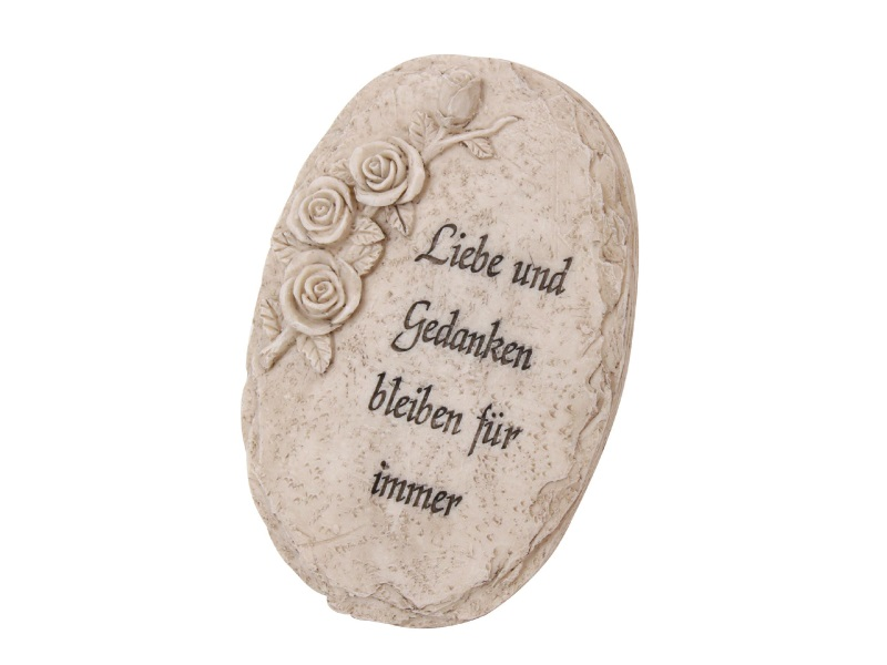 """Platte mit Rosen """"Liebe und Gedanken"""" aus Poly creme 12x18x7cm"""