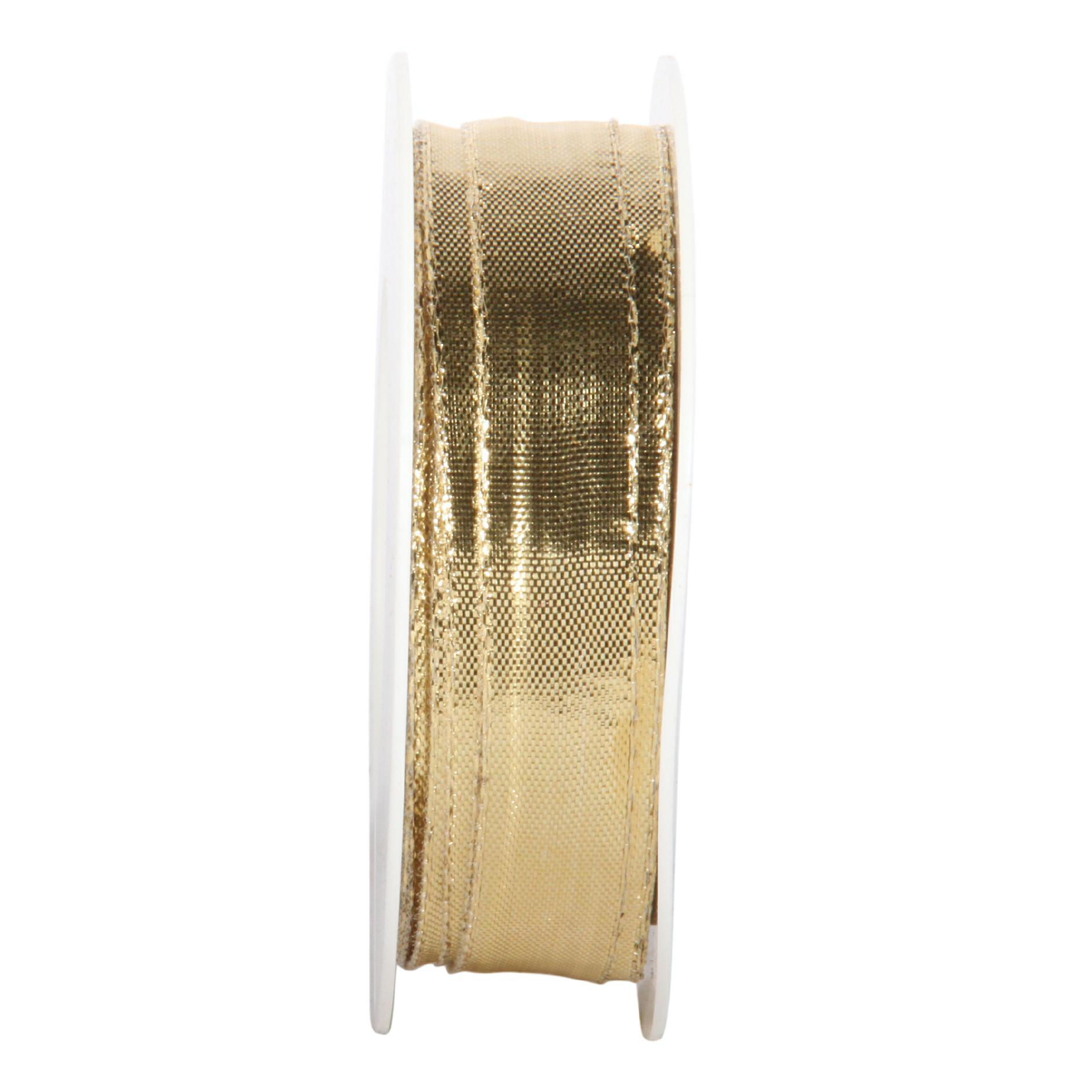 Dekoband GLITZER - Satinband Geschenkband, 15 mm x 25 m, Farbe Farbe Gold