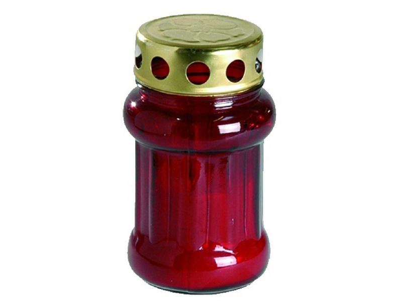 Grabkerze Grablicht Rot mit Deckel Höhe 14,5cm Brenndauer  ca. 18,5 Std.