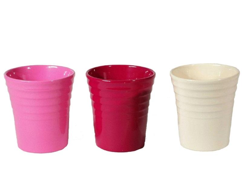 "3 Orchideenvasen ""FLEUR"" aus Keramik sortiert -Ø13,5cm x H15cm, Farbe Rot-Rosa-W"