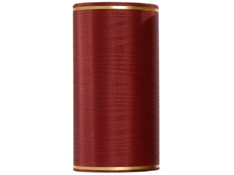 Kranzband -125mm x 25m  Moire m. Goldrand - Farbe Bordeaux