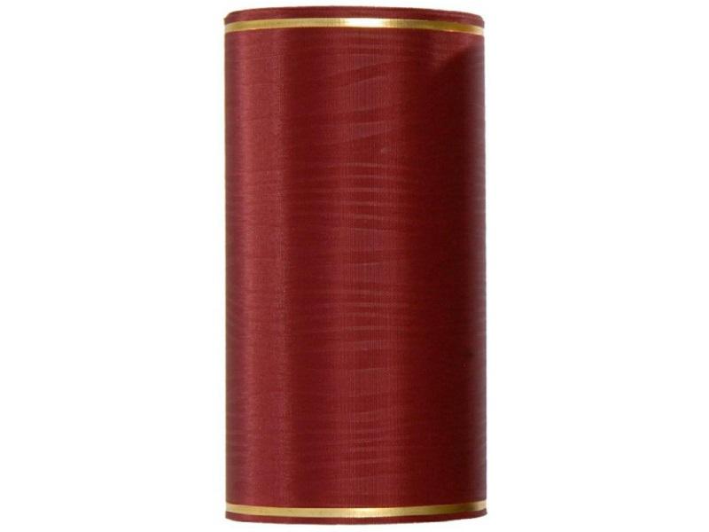 Kranzband -175mm x 25m  Moire m. Goldrand - Farbe Bordeaux