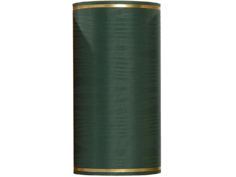 Kranzband -175mm x 25m  Moire m. Goldrand - Farbe Dunkelgrün
