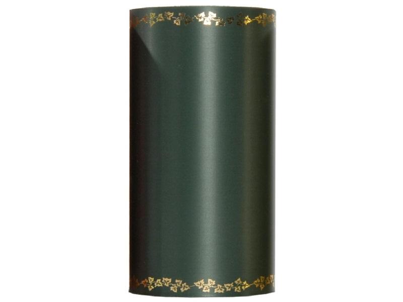 Kranzband -100mm x 25m  Super-Satin m. Goldrand Efeu - Farbe Dunkelgrün