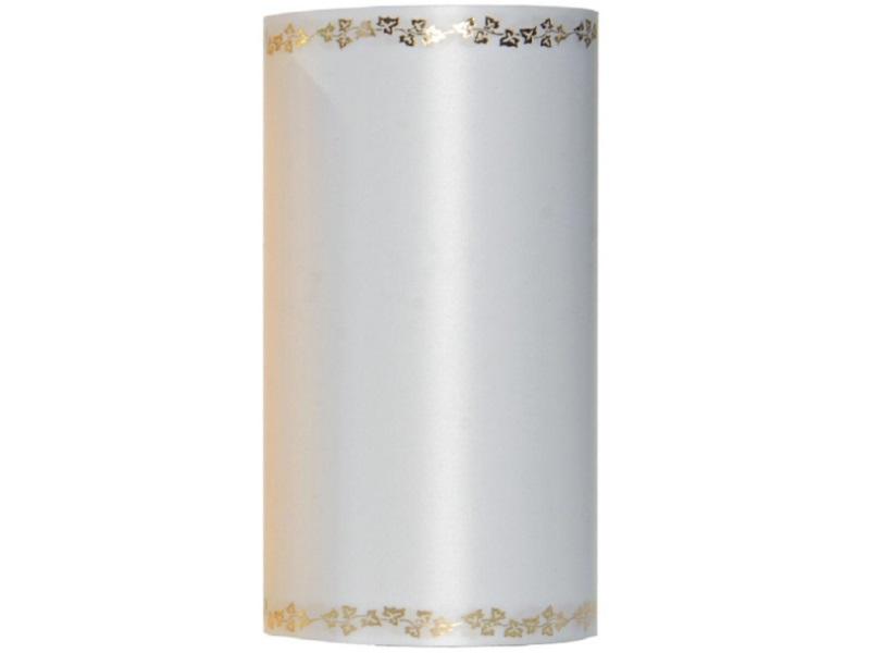 Kranzband -125mm x 25m  Super-Satin m. Goldrand Efeu - Farbe Weiss