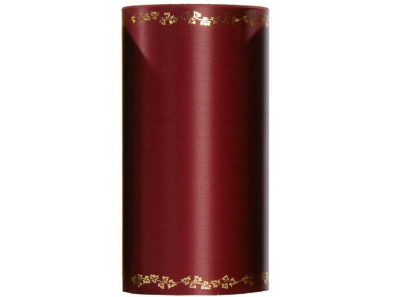 Kranzband -125mm x 25m  Super-Satin m. Goldrand Efeu - Farbe Bordeaux