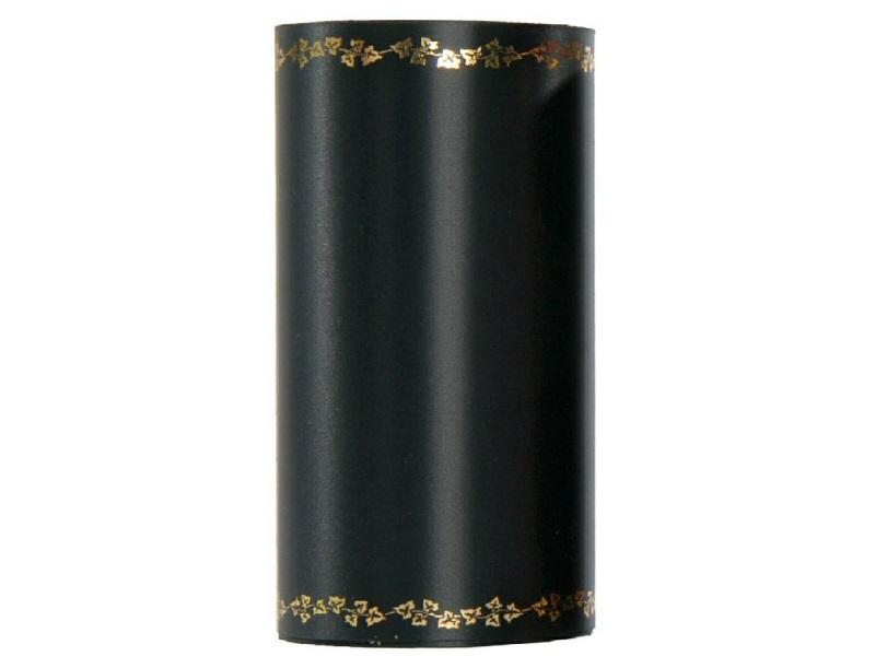 Kranzband -125mm x 25m  Super-Satin m. Goldrand Efeu - Farbe Schwarz