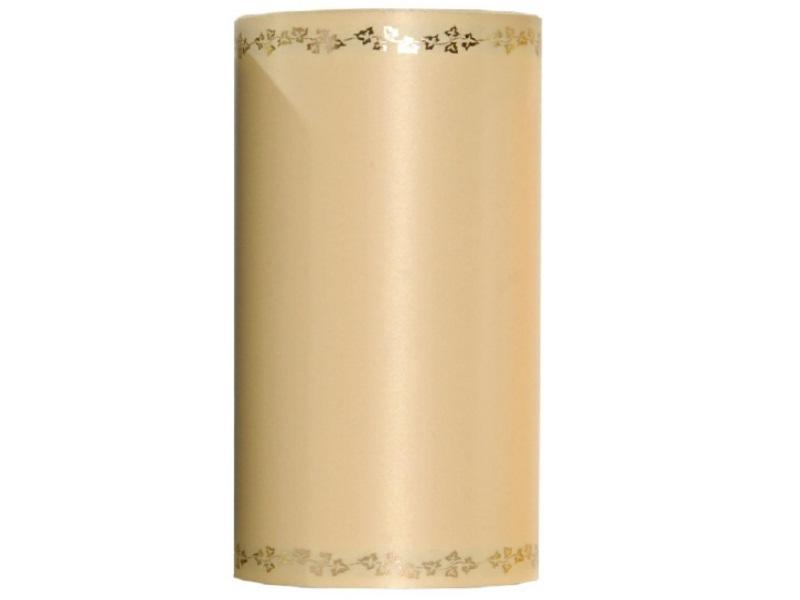 Kranzband -150mm x 25m  Super-Satin m. Goldrand Efeu - Farbe Champagner