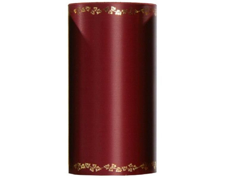 Kranzband -150mm x 25m  Super-Satin m. Goldrand Efeu - Farbe Bordeaux