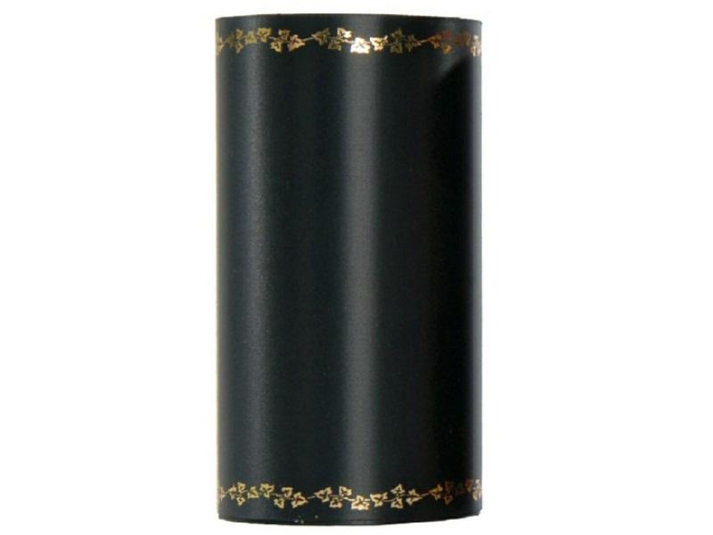 Kranzband -150mm x 25m  Super-Satin m. Goldrand Efeu - Farbe Schwarz