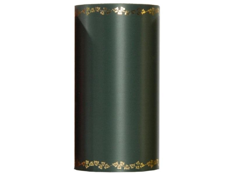 Kranzband -150mm x 25m  Super-Satin m. Goldrand Efeu - Farbe Dunkelgrün