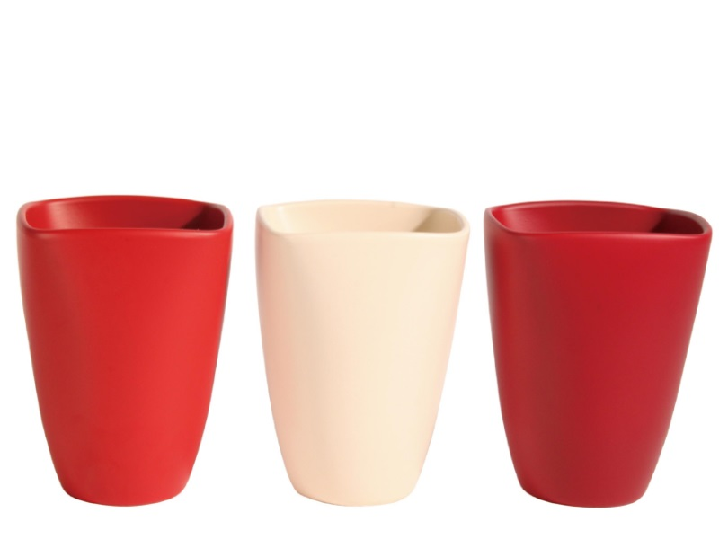 "Übertopf - Pflanzenkübel ""ROOD"" aus Keramik H17cm Rot-Hellrosa-Dunkelrot"