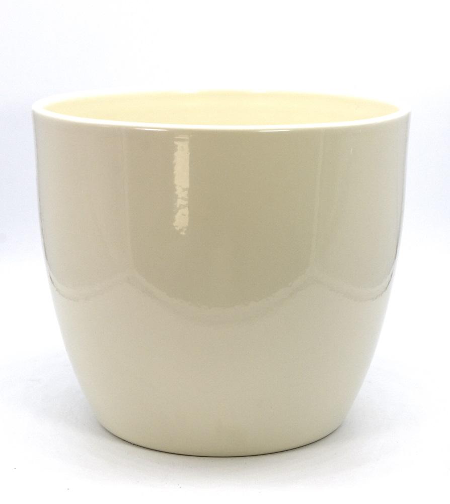 "Übertopf - Pflanzenkübel ""BASIO"" aus Keramik in Panna-Glanz Ø 22 cm"