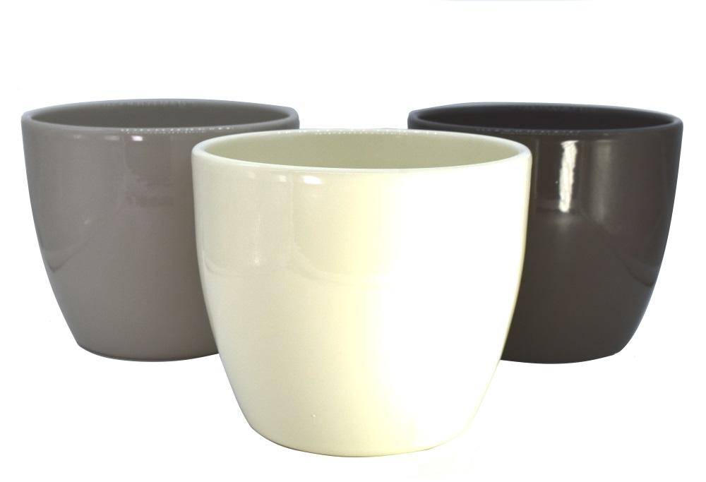 "3 Übertöpfe - Pflanzenkübel ""COULOUR"" aus Keramik sortiert (Ø 15 cm)"