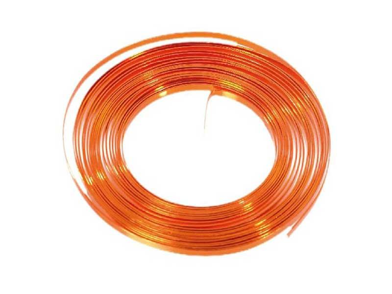 Aluminiumdraht flach 1 mm x 5 mm - 100g, Farbe Orange