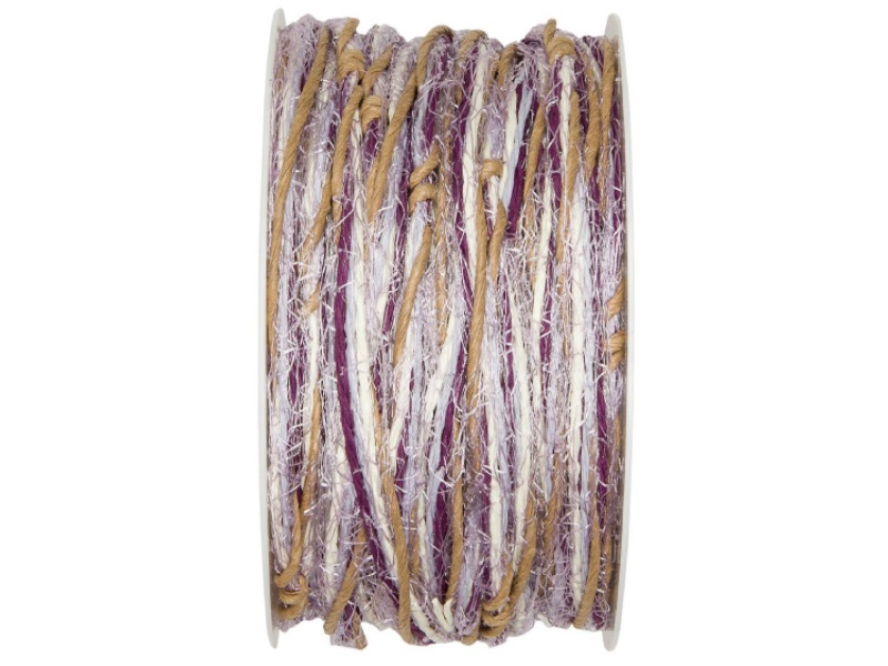 Qualitäts-Dekoband Materialmix-Kordel Ø 15mm x 12m Farbe Lavendel-Natur