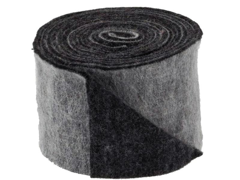 Topfband 2-farbig- Filz-Wolle - Filzband 15cm x 5m - Farbe Schwarz-Grau
