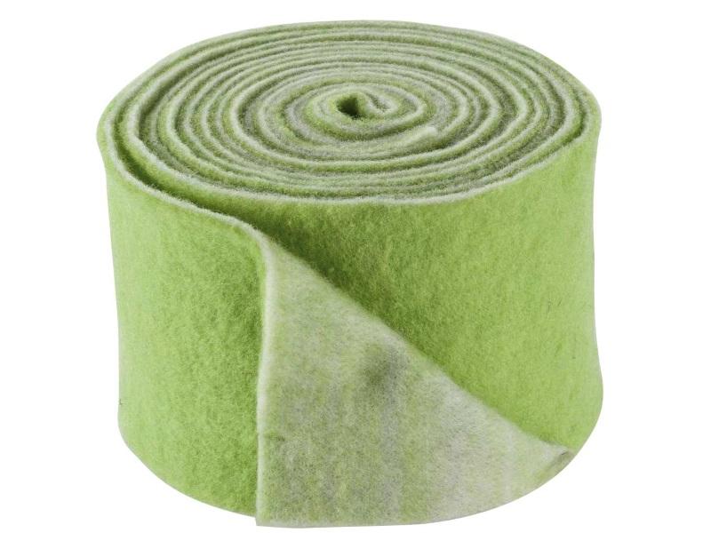 Topfband 2-farbig- Filz-Wolle - Filzband 15cm x 5m - Farbe Grün-Weiss