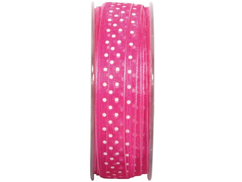 """Qualitäts-Dekoband """"Delice"""" gepunktet 15mm x 15m  Pink-Weiss"""