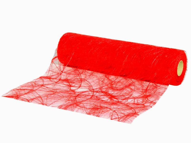 Sizoweb Dekostoff Tischband, Tischläufer  -  30 m x 25 cm, Farbe Farbe Rot