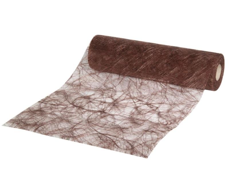 Sizoweb Dekostoff Tischband, Tischläufer  - 30 m  x 25 cm, Farbe Farbe Dunkelbraun